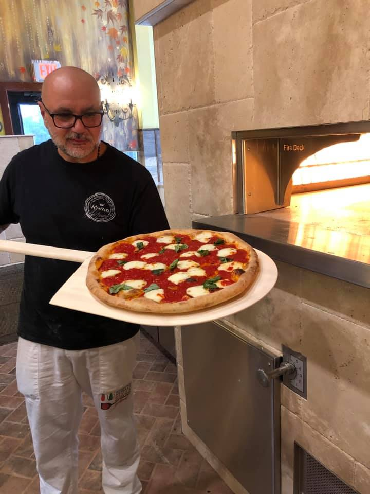 Testing the brick oven at Green Olive II in Vineland, New Jersey