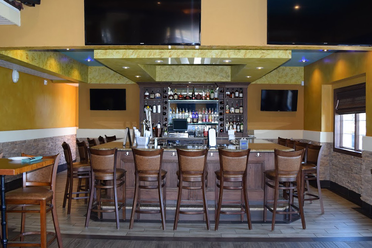 The bar at Green Olive Restaurant