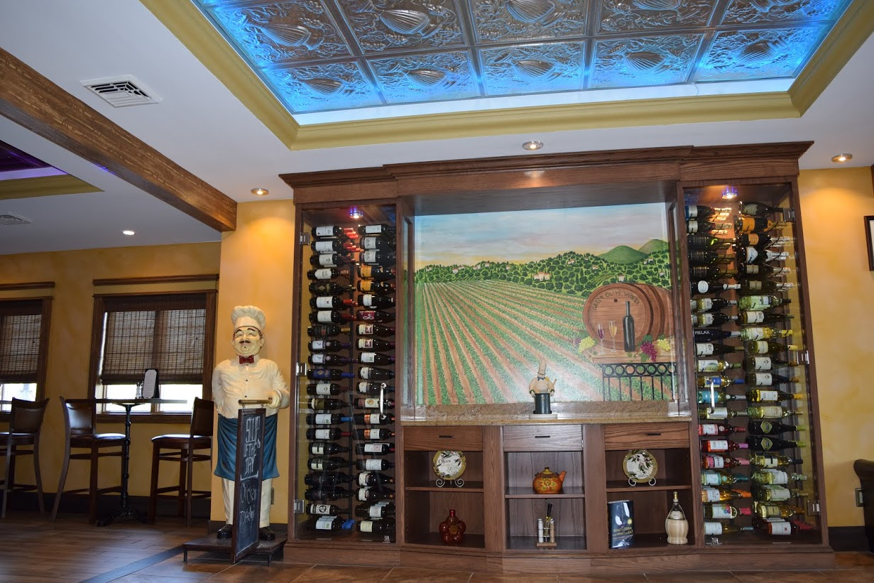 Wine selection at the Green Olive Restaurant in Bridgeton New Jersey